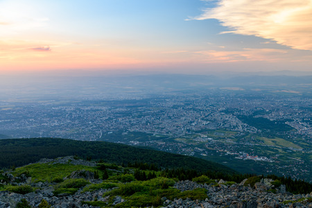 Aerial view to city of Sofia at sunset