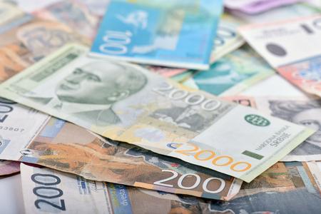 Close-up of Serbian banknotes