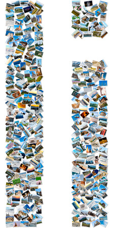 majuscule: The alphabet series - collage of travel photos forming capital and small english letter I Stock Photo
