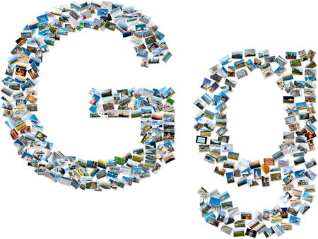 majuscule: The alphabet series - collage of travel photos forming capital and small english letter G Stock Photo