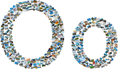 majuscule: The alphabet series - collage of travel photos forming capital and small english letter O Stock Photo