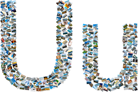 majuscule: The alphabet series - collage of travel photos forming capital and small english letter U