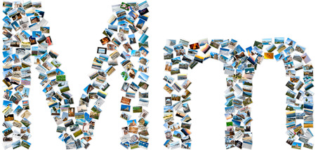 majuscule: The alphabet series - collage of travel photos forming capital and small english letter M