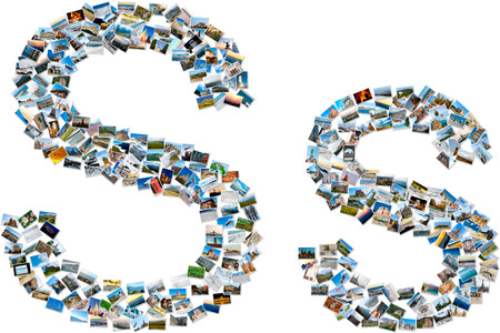 majuscule: The alphabet series - collage of travel photos forming capital and small english letter S