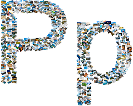 majuscule: The alphabet series - collage of travel photos forming capital and small english letter P Stock Photo