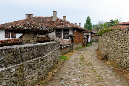 A street in Zheravna village (Municipality of Kotel) with old traditional houses, Bulgaria