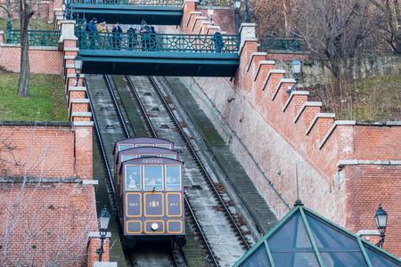 Budapest, Hungary - December 30, 2016: Buda Hill Funicular to get up to the Buda Castle Hill