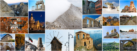 Collage of Bulgarian landmarks and popular travel destinations, aspect ratio for social network cover photo Stockfoto