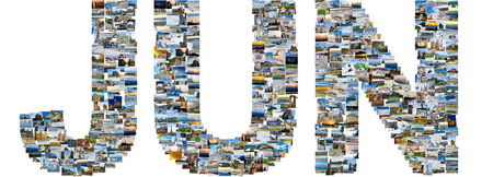June - illustrated name of calendar month, each letter is made of multiple travel photos. Collage of travel images Publikacyjne