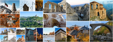 Collage of Bulgarian landmarks and popular travel destinations, aspect ratio for social network cover photo Stock Photo