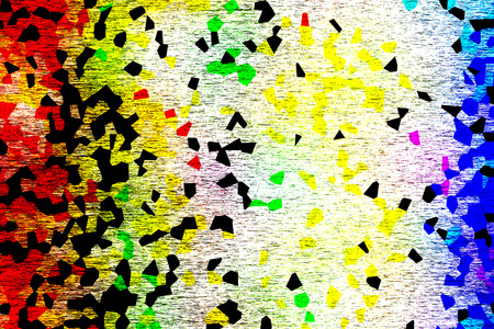 Multicolored abstract backdrop of yellow, green, black, red and blue irregular polygonal shapes on white textured background