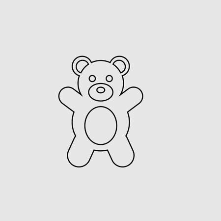 Teddy bear vector icon. Lined flat sign for mobile concept and web design. Teddy bear glyph icon. Symbol, illustration. Vector graphics