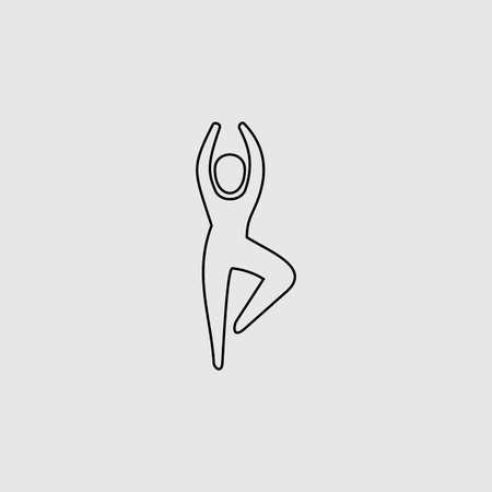 Yoga vector icon. Lined flat sign for mobile concept and web design. Yoga glyph icon. Symbol, illustration. Vector graphics