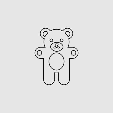 Teddy bear vector icon. Lined flat sign for mobile concept and web design. Teddy bear glyph icon. Symbol,  illustration. Vector graphics 向量圖像