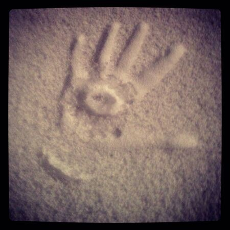 print: Hand print in the snow