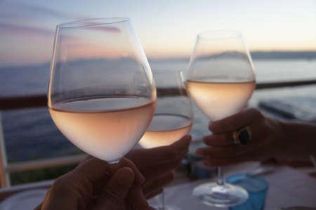 rose wine: rose cheers Stock Photo