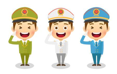 군인 및 중국 경찰 일러스트