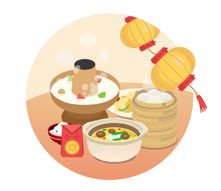 Chinese New Year's Eve dinner Illustration