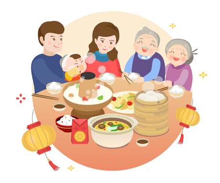 Chinese New Year's Eve dinner Stock Illustratie