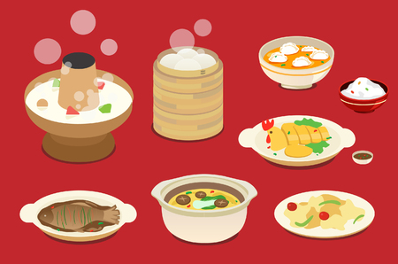 Chinese New Year's Eve dinner  イラスト・ベクター素材