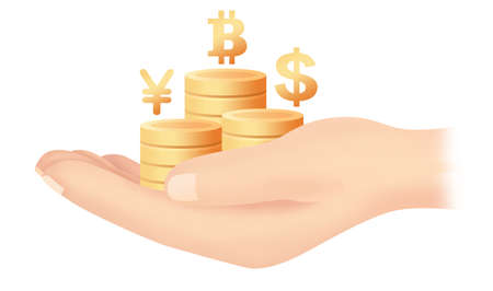 Hand gold coin bit coin