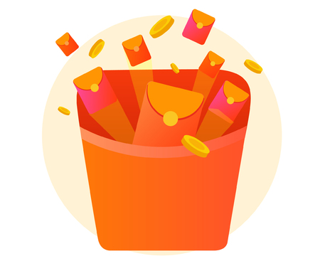 Red packet and gold coin activity vector Illustration