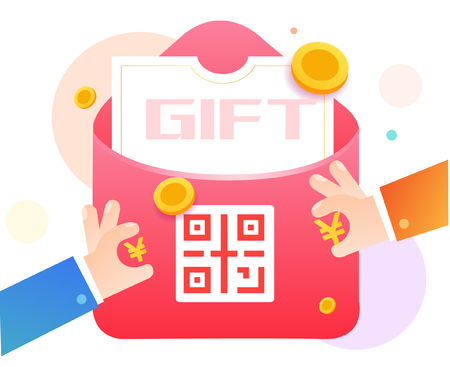 Red envelope lottery gift QR code Archivio Fotografico - 107365129
