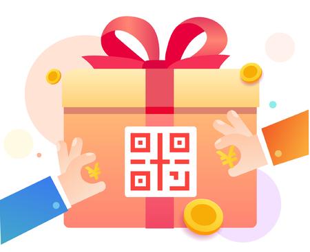 Kod QR dla prezentów loterii w czerwonej kopercie