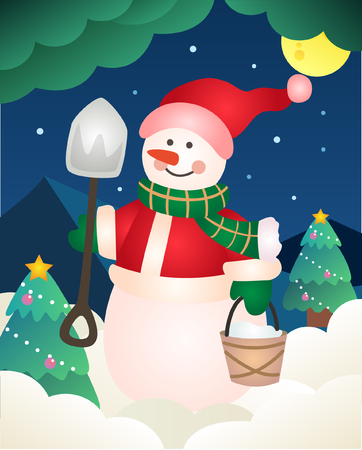 Christmas background with snowman Archivio Fotografico - 108568963