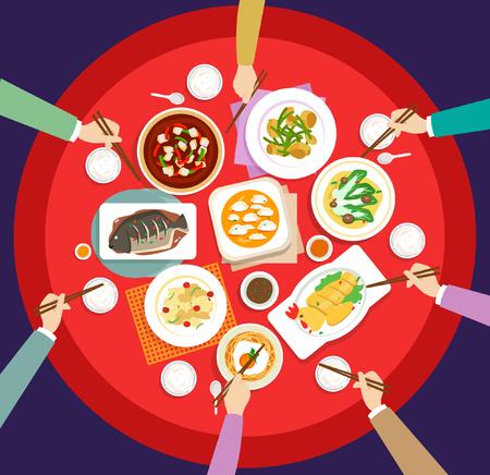 Oudejaarsavond diner Vector Illustratie