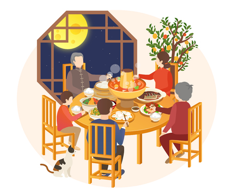 Cena gastronomica per l'anno del maiale di Capodanno 2019 Vettoriali