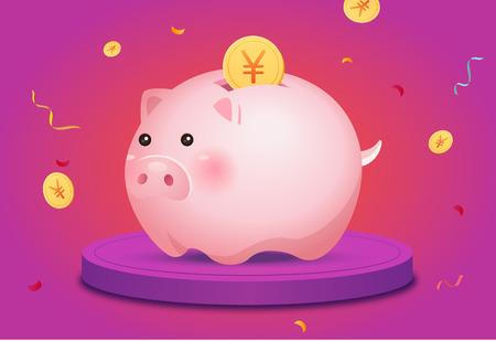 2019 New Years Pig Year Иллюстрация