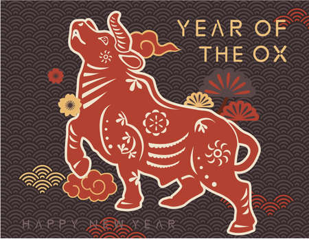 Chinese ox year new year greeting card template