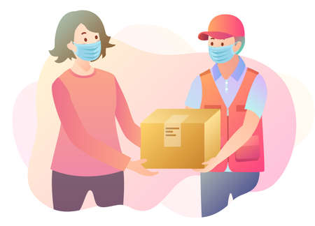 Illustration of parcel delivery with people in mask as pandemic prevention Çizim