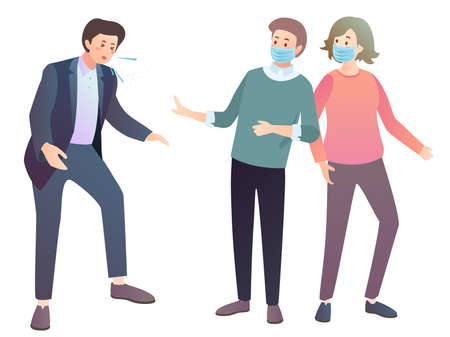 People wearing mask avoiding contact from a person who is coughing