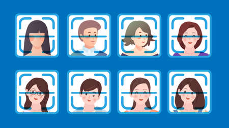 Face-scan identification online concept with icons of people