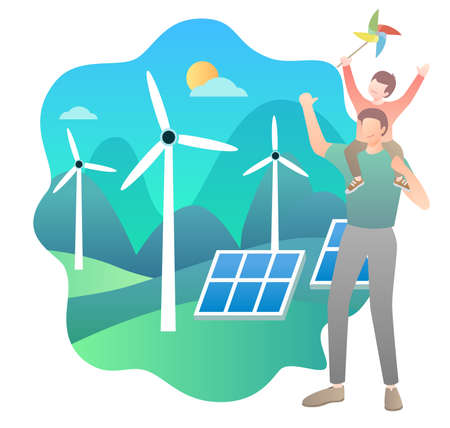 Wind power green home material Ilustrace