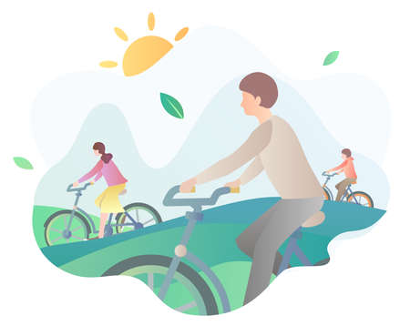 Illustration of people cycling outdoors Çizim
