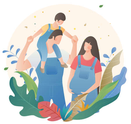 Family portrait family mother and baby character material 向量圖像