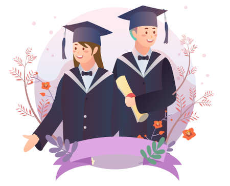 Graduate students illustration 矢量图像