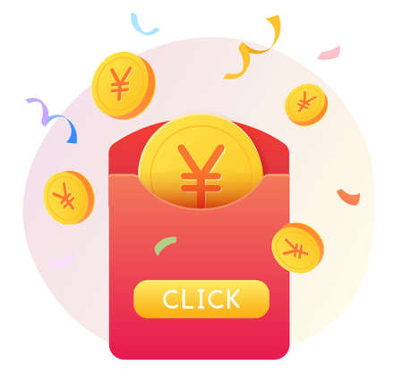 Illustration of red envelope with coins showing online lucky draw concept Çizim
