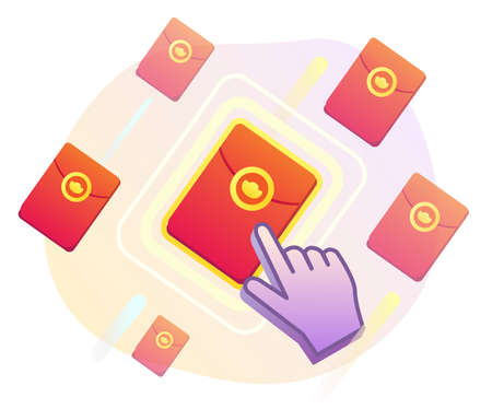 Illustration of red envelopes showing online lucky draw concept