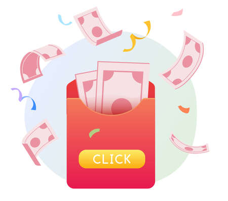 Illustration of red envelope with banknotes showing online lucky draw concept
