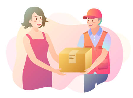 Illustration of parcel delivery with woman receiving her item