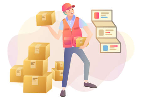 Courier logistics concept with delivery man and parcels