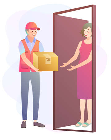 Illustration of parcel delivery with woman receiving her item at her door