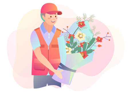 Illustration of a delivery man holding a bouquet of flowers Illustration