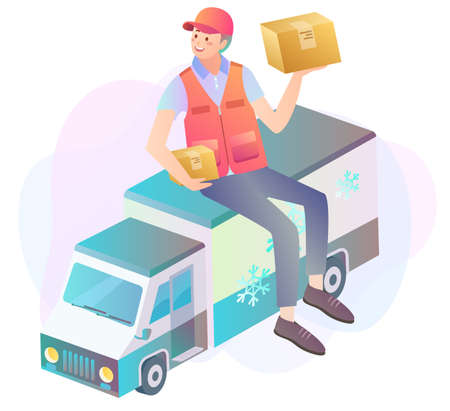 Illustration of a delivery man holding parcels on top of a delivery truck Illustration