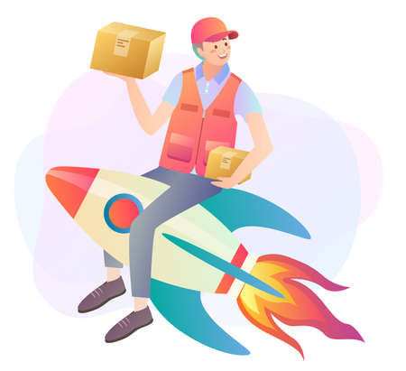 Illustration of courier logistics concept with delivery man holding parcels on top of a rocket Çizim