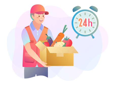 Illustration of 24 hours courier logistics concept with delivery man holding a box of groceries